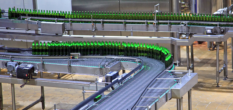 Bottles being packaged on a line
